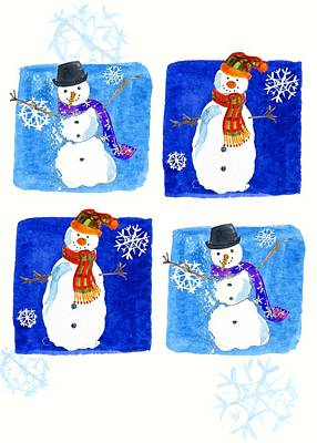 Cute Cartoon Painting - Snowmen by Anna Platts