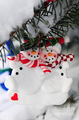 Celebrate Photograph - Snowmen Christmas Ornament by Elena Elisseeva