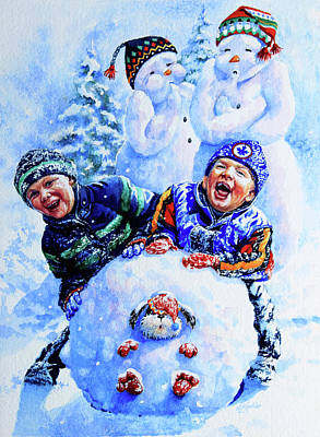 Print Making Painting - Snowmen by Hanne Lore Koehler