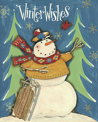 Snowmen Season I Art Print by Anne Tavoletti