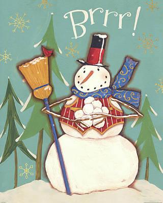 Broom Wall Art - Painting - Snowmen Season II by Anne Tavoletti