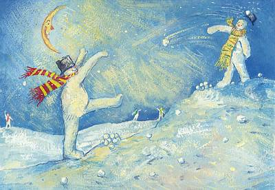 Snowball Fight Painting - Snowmen's Midnight Fun by David Cooke