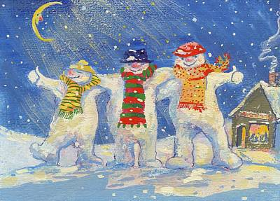 Photograph - Snowmens Night Out, 2008 Gouache by David Cooke