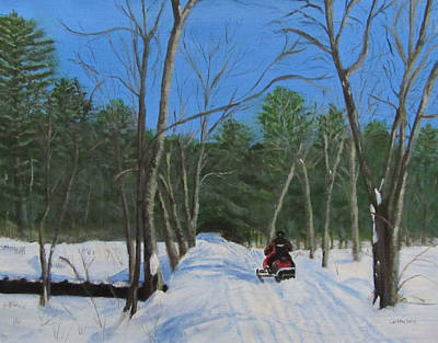 Art Print featuring the painting Snowmobile On Trail by Linda Feinberg