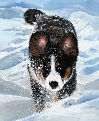 Winter Storm Painting - Snowplow by Liane Weyers