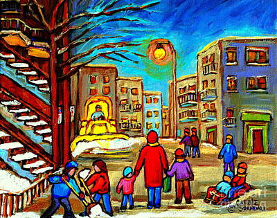 Montreal Winter Scenes Painting - Snowplow On Osborne Street Whimsical Montreal Winter Scene Painting By Artist Carole Spandau by Carole Spandau