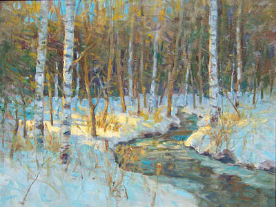 Painting - Snowscene With Brook. by Bart DeCeglie
