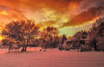 Digital Art - Snowset by Aliceann Carlton