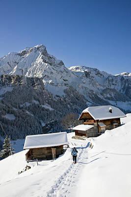 Snowshoeing In Griesalp And Steineberg Art Print