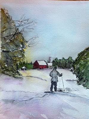 Snowshoeing In Northern Maine Art Print by Peggy Bosse