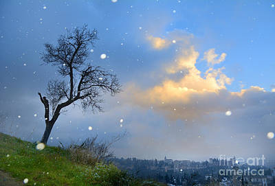 Snowstorm At The Alhambra At Sunset Print by Guido Montanes Castillo