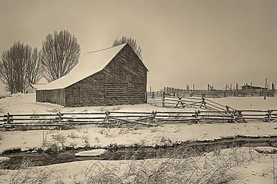 Winter Sepia Scene Digital Art - Snowstorm At The Ranch Sepia by Priscilla Burgers