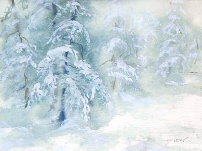 Art Print featuring the painting Snowstorm by Joy Nichols