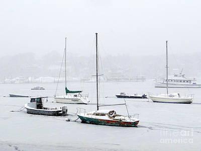 Snowstorm On Harbor Art Print by Ed Weidman