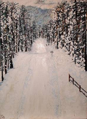 Art Print featuring the painting Snowy 27th by Leslie Byrne