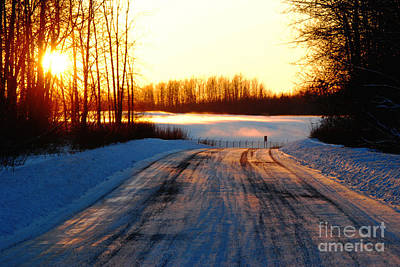 Snowy Anchorage Sunset Art Print by Cynthia Lagoudakis