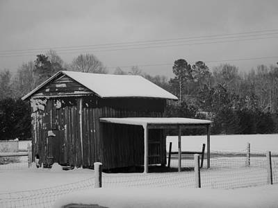 Photograph - Snowy Barn Bw by Nelson Watkins