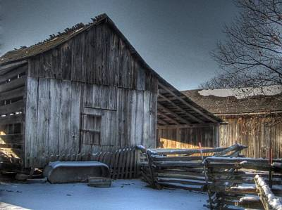 Split Rail Fence Photograph - Snowy Barn by Jane Linders