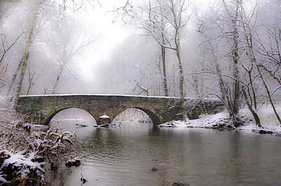 Phillies Digital Art - Snowy Bells Mill Road Bridge by Bill Cannon