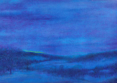Art Print featuring the painting Snowy Blue Nocturne by Judith Cheng