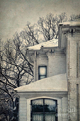 Snowy Brick House Art Print by Jill Battaglia