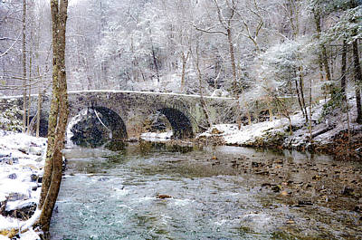 Snowy Bridge Along The Wissahickon Print by Bill Cannon