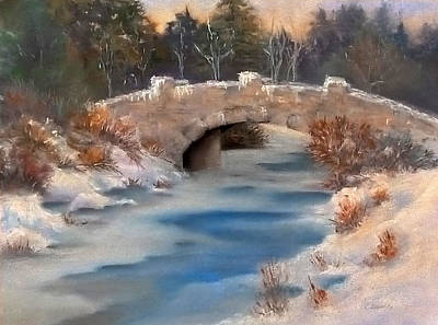 Pastel - Snowy Bridge by Lori Ippolito