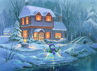 Winter Scene Painting - Snowy Bright Night by Michael Humphries