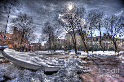 Philadelphia Skyline Photograph - Snowy Button - Upenn by Mark Ayzenberg