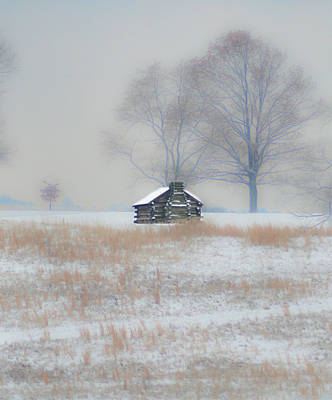 Snowy Cabin At Valley Forge Art Print by Bill Cannon