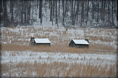 Snowy Cabins At Valley Forge Art Print by Bill Cannon