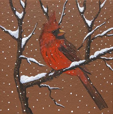 Painting - Snowy Cardinal by Jennifer Lake