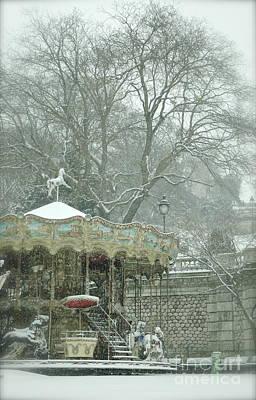 Photograph - Snowy Carousel by Louise Fahy