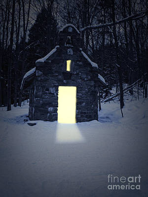 Cabins Photograph - Snowy Chapel At Night by Edward Fielding