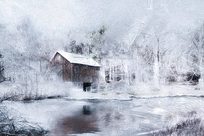 Barns Digital Art - Snowy Christmas Eve by Michael Petrizzo