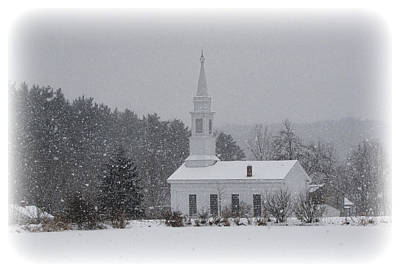 Photograph - Snowy Church by Ann Bridges