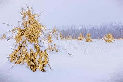 Snowy Corn Shocks - Artistic Print by Chris Bordeleau
