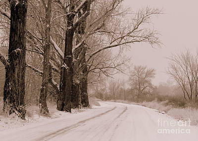 Photograph - Snowy Counry Road - Sepia by Carol Groenen