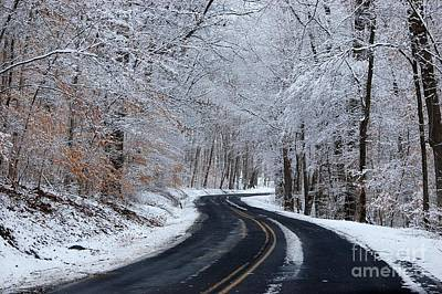 Sunday Drive Photograph - Snowy Country Road by Debbie Green