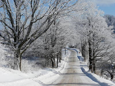Snowy Country Road Art Print