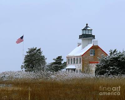 Photograph - Snowy Day At East Point Lighthouse by Nancy Patterson