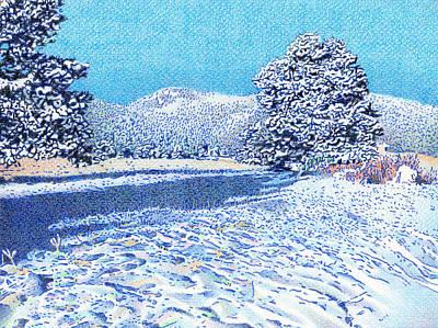 Snow Drifts Drawing - Bergen Peak Snowy Day by Dan Miller