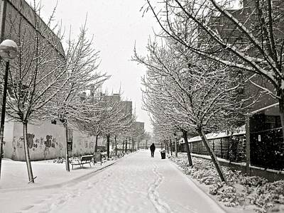 Snowy Day In Madrid Art Print by Galexa Ch