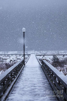 Snowy Day On The Boardwalk Art Print