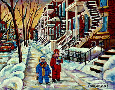 Painting - Snowy Day Rue Fabre Le Plateau Montreal Art Winter City Scenes Paintings Carole Spandau by Carole Spandau