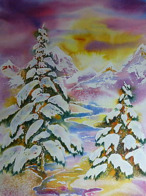 Wall Art - Painting - Snowy Day by Sharalyn Edgeberg