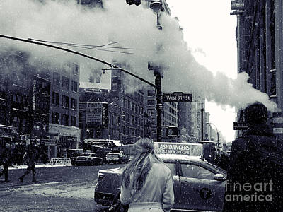Photograph - Snowy Day With New York City Steam by Miriam Danar