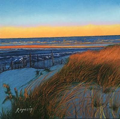 Painting - Snowy Dunes....winters Sunrise by Harvey Rogosin
