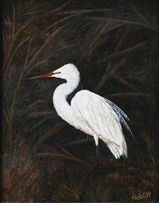 Wall Art - Painting - Snowy Egret Waiting by Paula Noblitt
