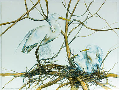 Painting - Snowy Egret And Chicks by Laurie Tietjen